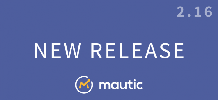 Purple background with 'New Release' in white text, the Mautic logo, and 2.16 in the top right corner.